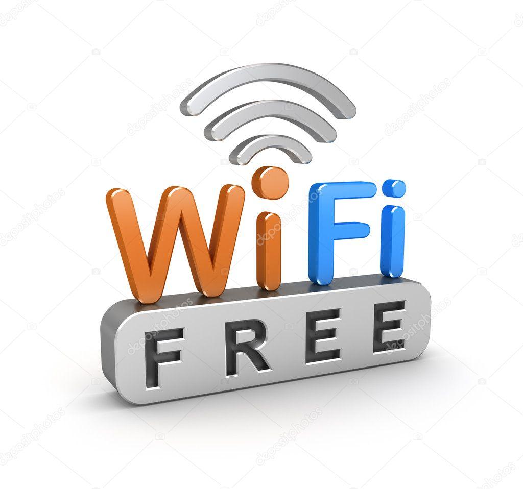 WiFi free zone sign. 3D icon over white