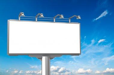 Empty advertisement hoarding at sky background stock vector