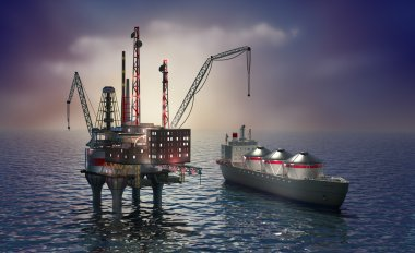 Drilling offshore platform and tanker