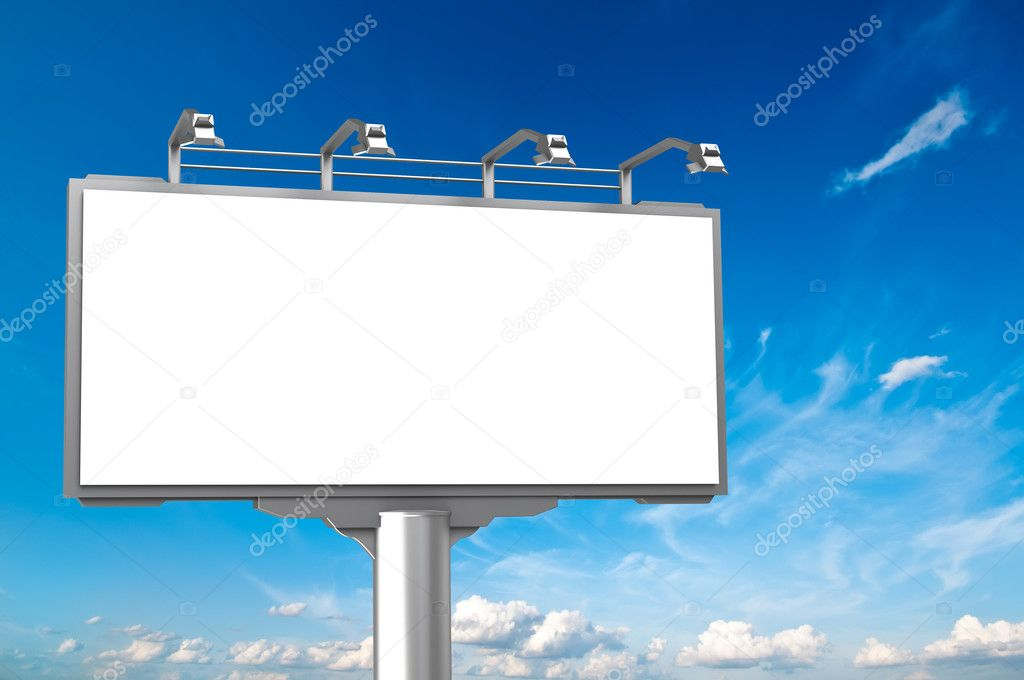 Empty Advertisement Hoarding At Sky Background Stock Photo