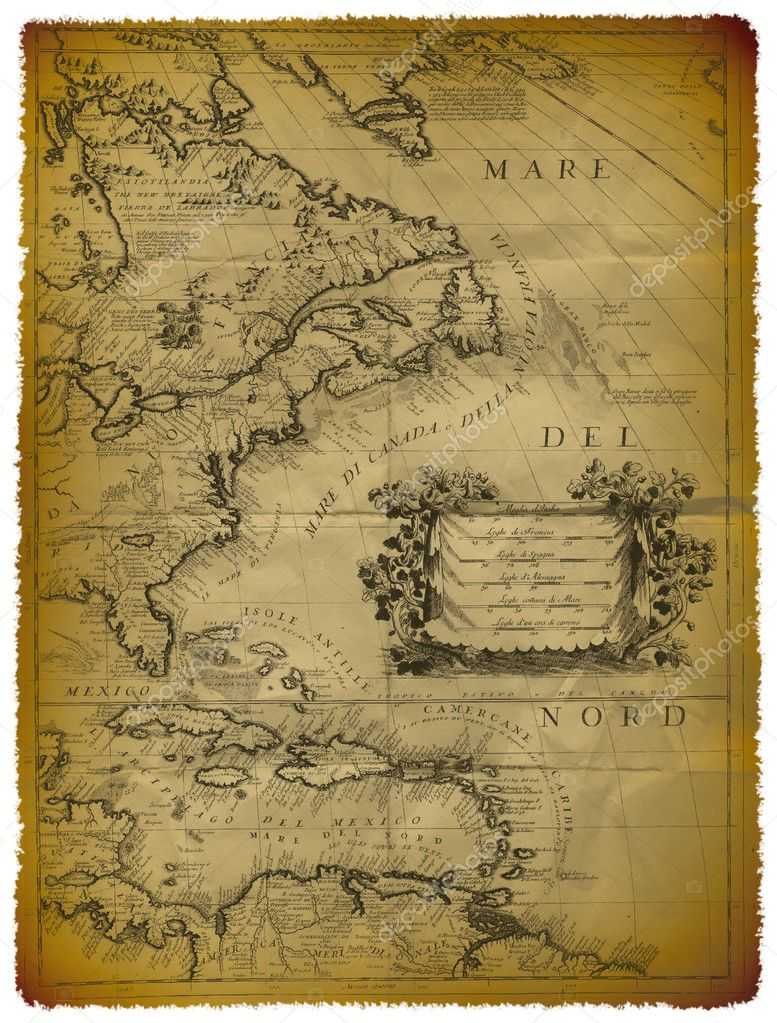 Old Map Of The Caribbean And The Eastern Coast Of USA Stock - Map of usa and caribbean