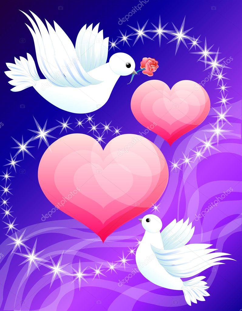 Сердечко с голубями картинки