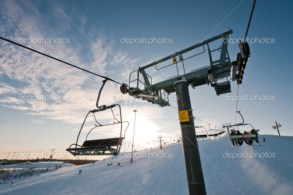 Ski-lift support on ski resort