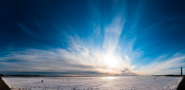 Beautiful cloudy sky panorama over ice