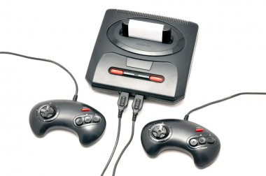 Isolated black retro console