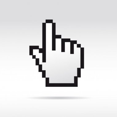 Black and White Pixel 3D Vector Mouse cursor hand