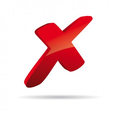 3D Vector red X cross sign icon
