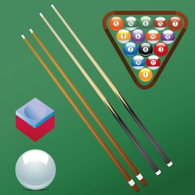Billiard ball set collection chalk Sport pool Game hobby cue restaurant table green triangular