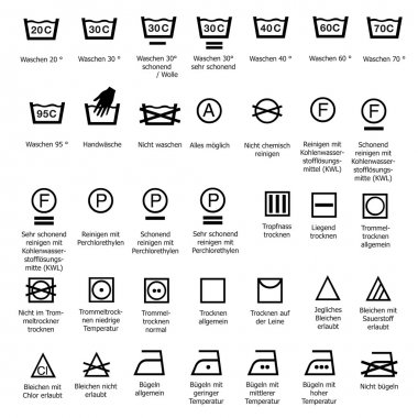 Textile care symbols washing dry cleaning smoothing wash sign symbol vector sign degree wash