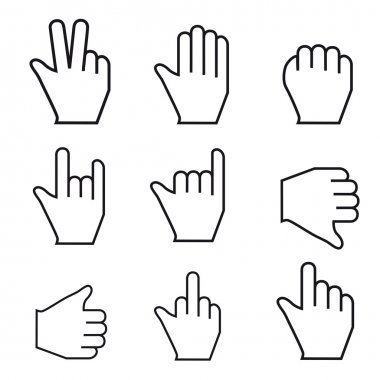 Black and WhiteVector Mouse cursor hand set