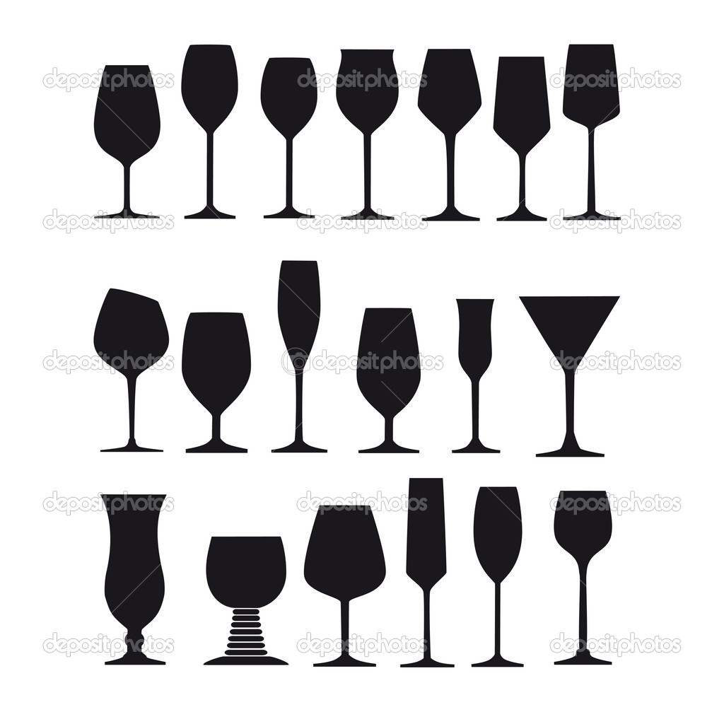 long drink glass glazier liqueur wine goblet silhouette spirit champagne glass wine glass snifter vector set