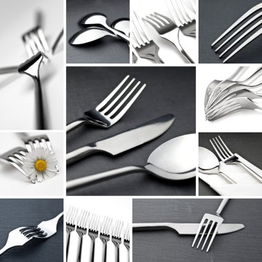 Table cutlery collage