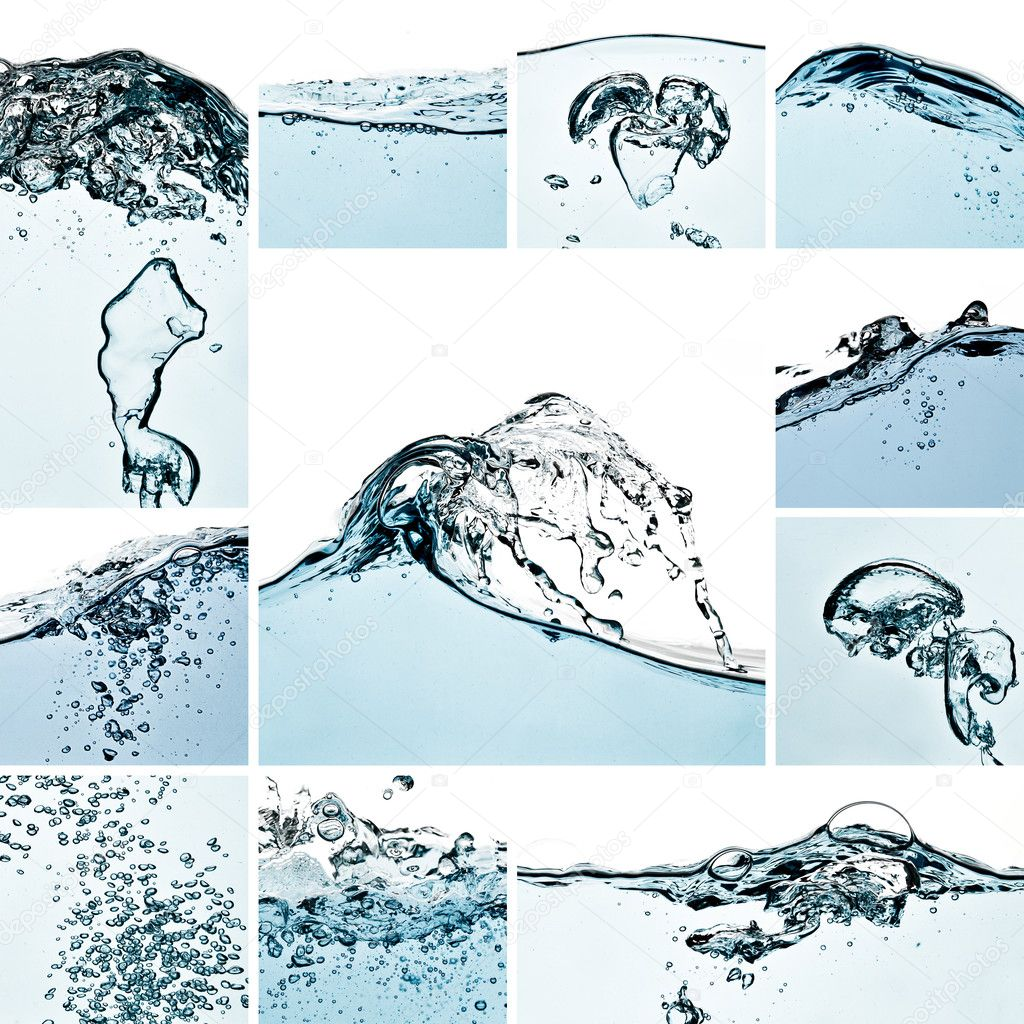 Water waves splash collage