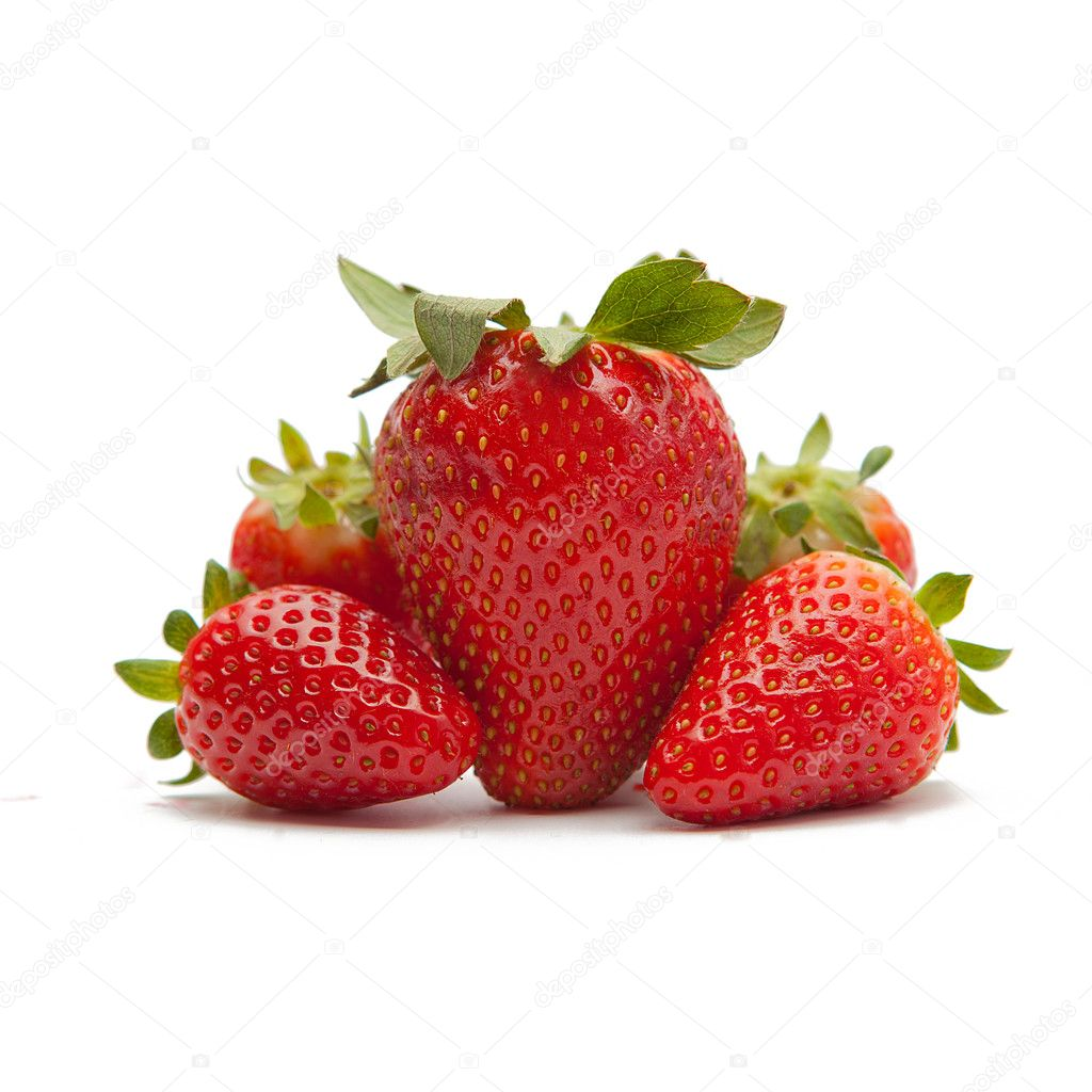 Red strawberries on white backgorund
