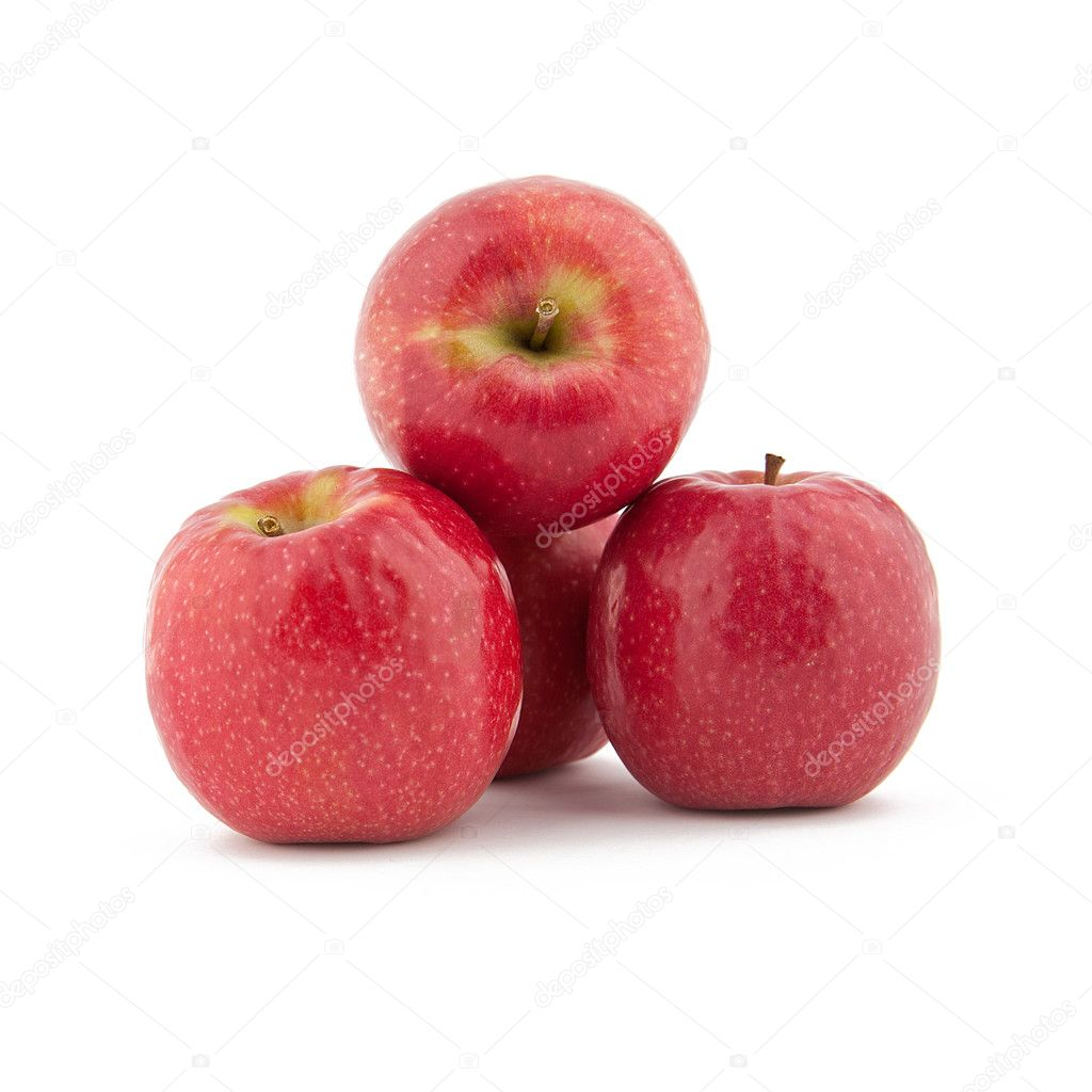 Red apples Tower on white background