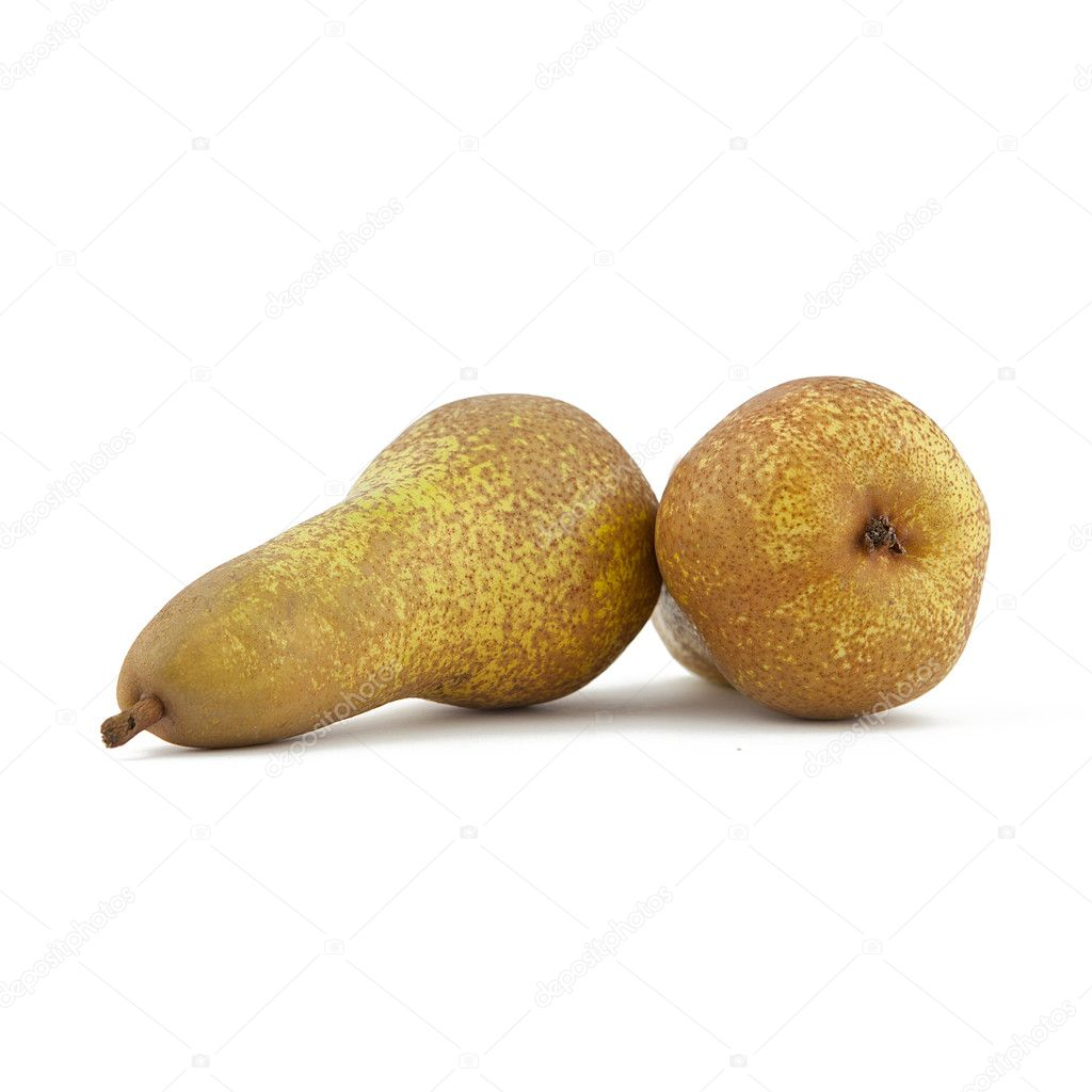 Brown pears on white background