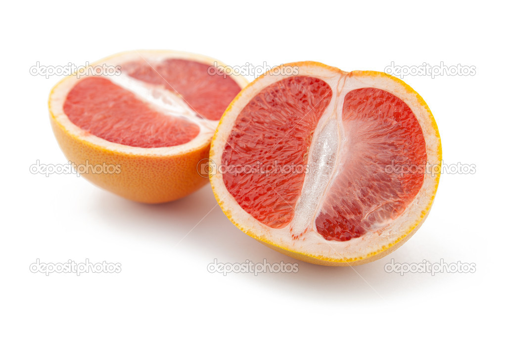 Red Orange grapefruit on white background