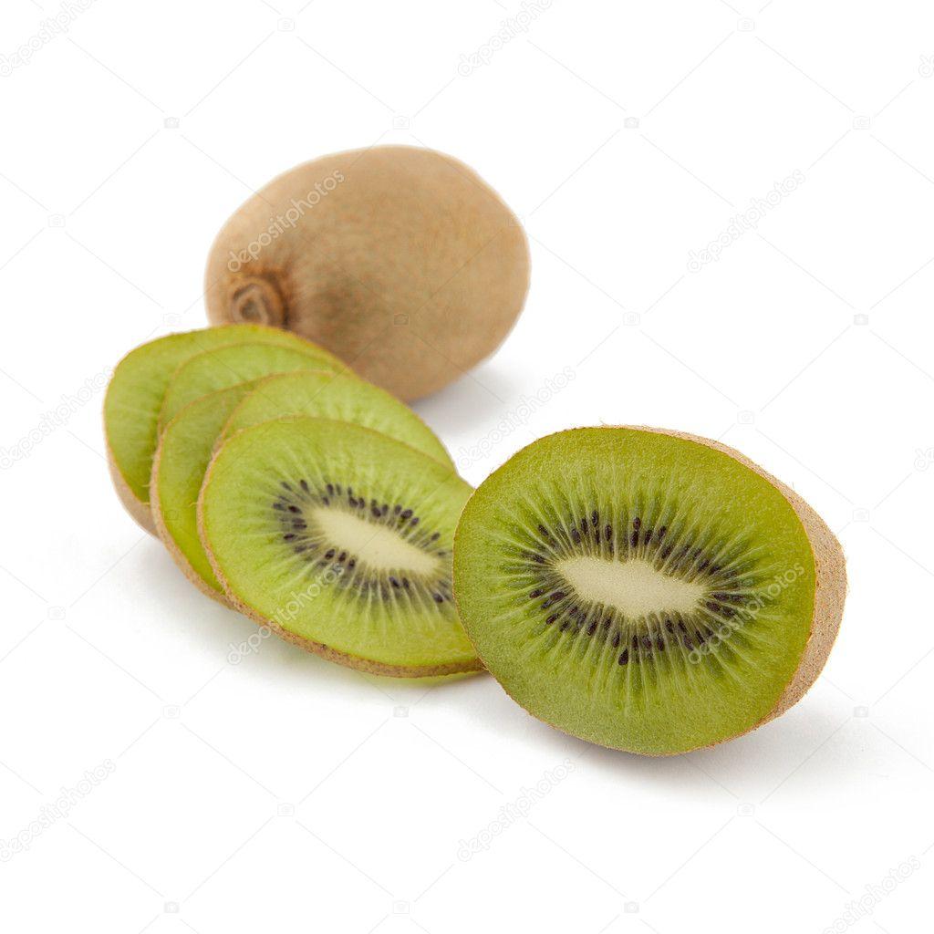 Brown Green Kiwi Fruit on white background