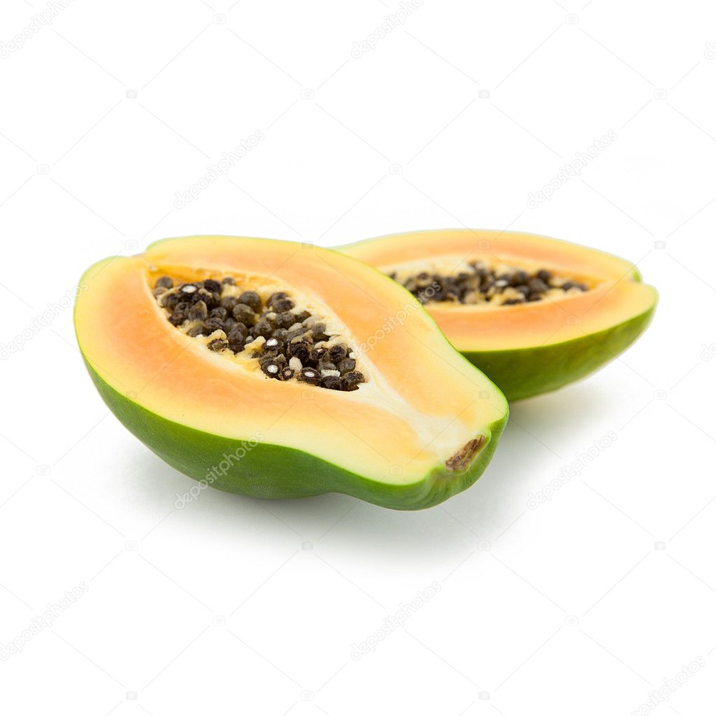 Green papaya Fruit on white backgorund