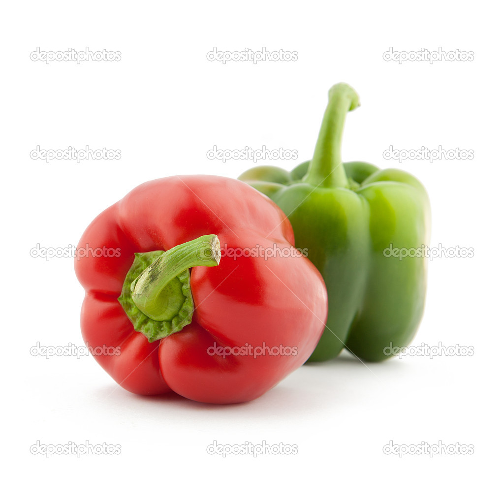 Red and Green Paprika pepper on white background