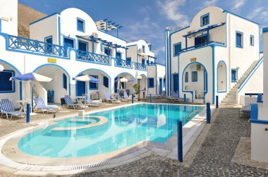 Traditional family hotel in Perisa, Santorini, Greece
