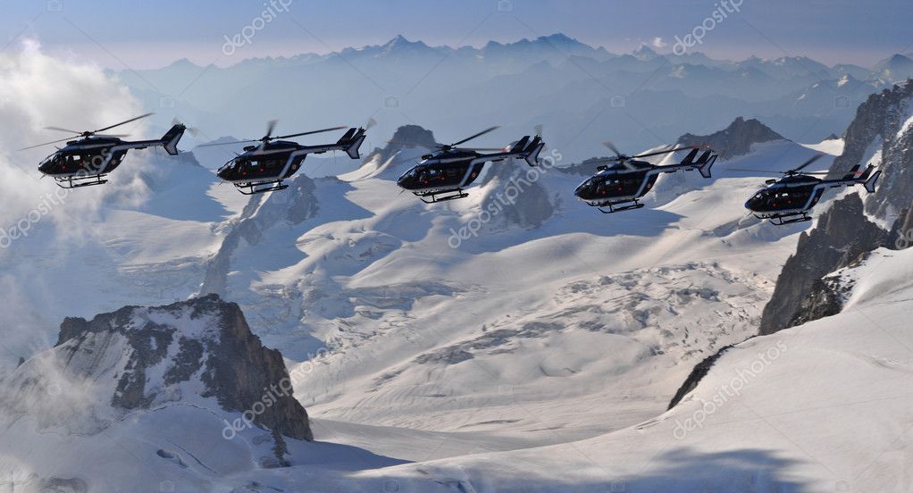 Helicopter patrol in Mont Blanc massif