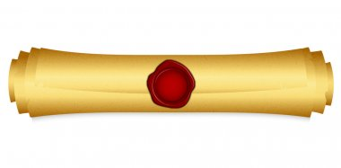 Vector illustration of gold scroll with red wax seal