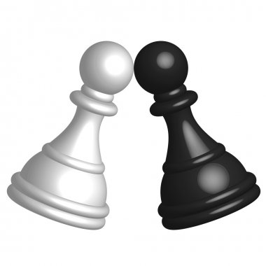 Vector illustration of black and white pawn