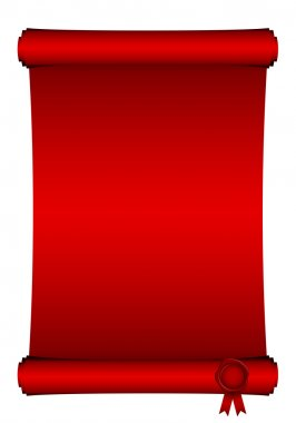 Vector illustration of red scroll