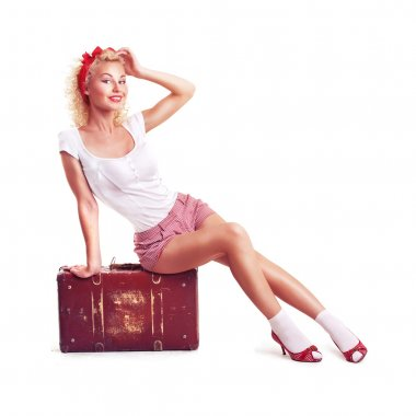 Girl with pretty smile in pinup style