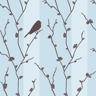 seamless pattern with bird on sakura