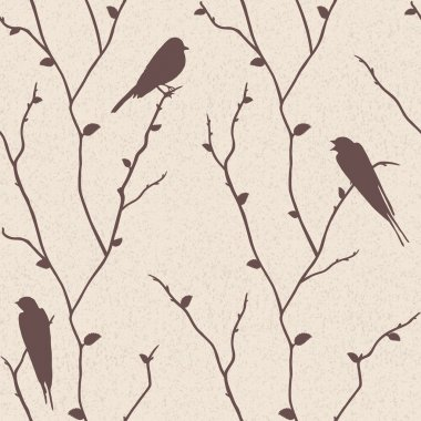 seamless pattern with birds on branches