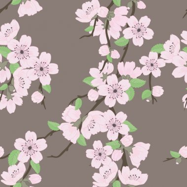 Vector seamless pattern with sakura branch