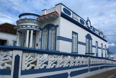 Colonial house in white and blue in Penedo (Alagoas) - Brazil