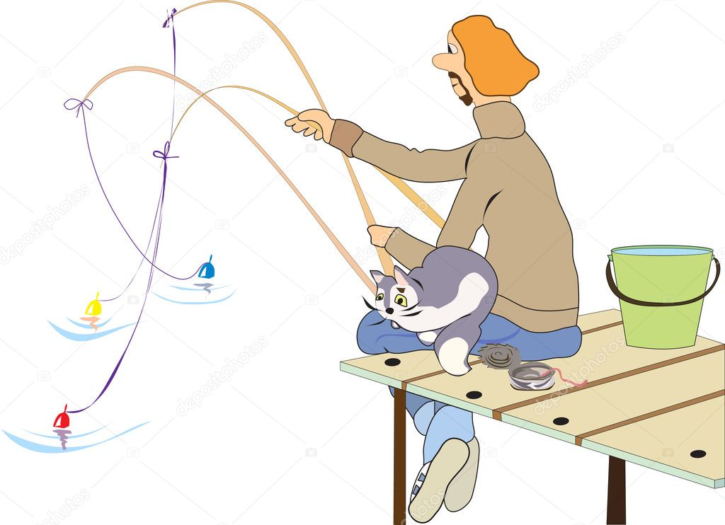 Fisherman holds in her hands three rods sitting on the dock with a cat on his lap, standing next to a bucket and a jar of worms
