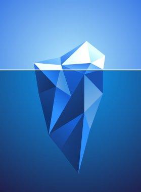 Stylized image of frozen diamond in iceberg shape stock vector
