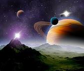 abstraktní pozadí vesmíru. v daleké budoucnosti cestování. nové