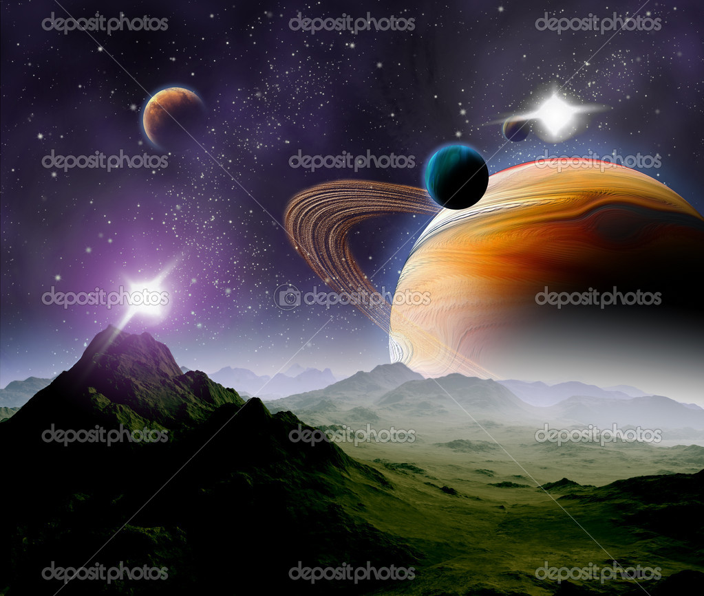Abstract background of deep space. In the far future travel. New