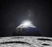Photo View of the Universe from the moons surface. Abstract illustrat
