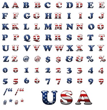 Exclusive collection letters set with american stars and stripes