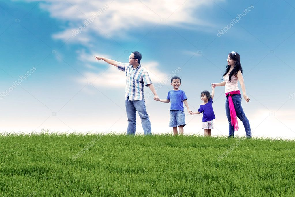 Asian Family Having Fun Outdoor