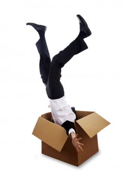 Man falling down into box
