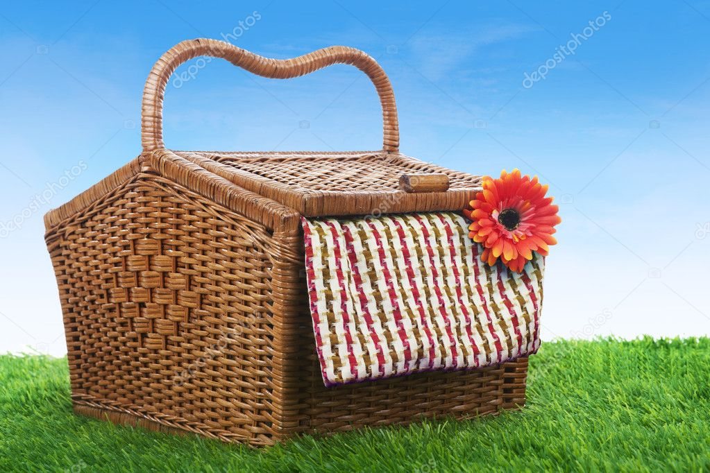 Picnic basket shot outdoor over green grass