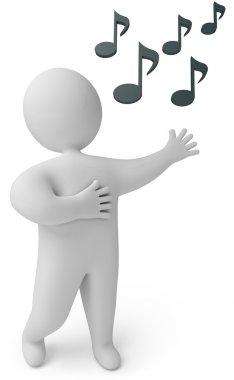 A man sings, 3d render