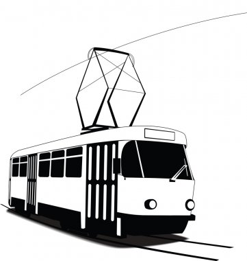 Classic Czech tramway in vector