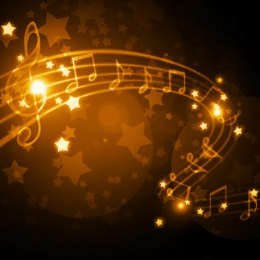 Musical staff with notes and stars