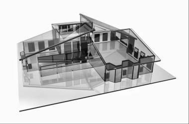 3d house glass design Computer generated image
