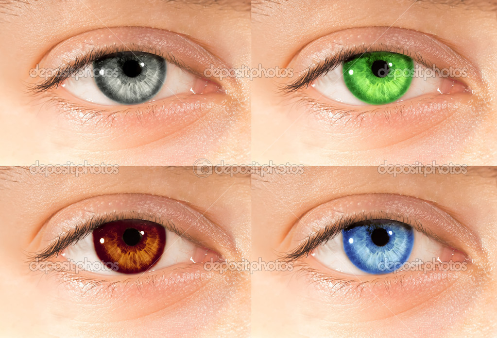 Set of different colored eyes