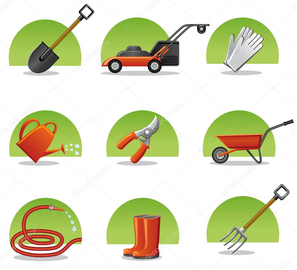 Web icons garden tools stock vector olegtoka1967 8476616 for Home and garden equipment