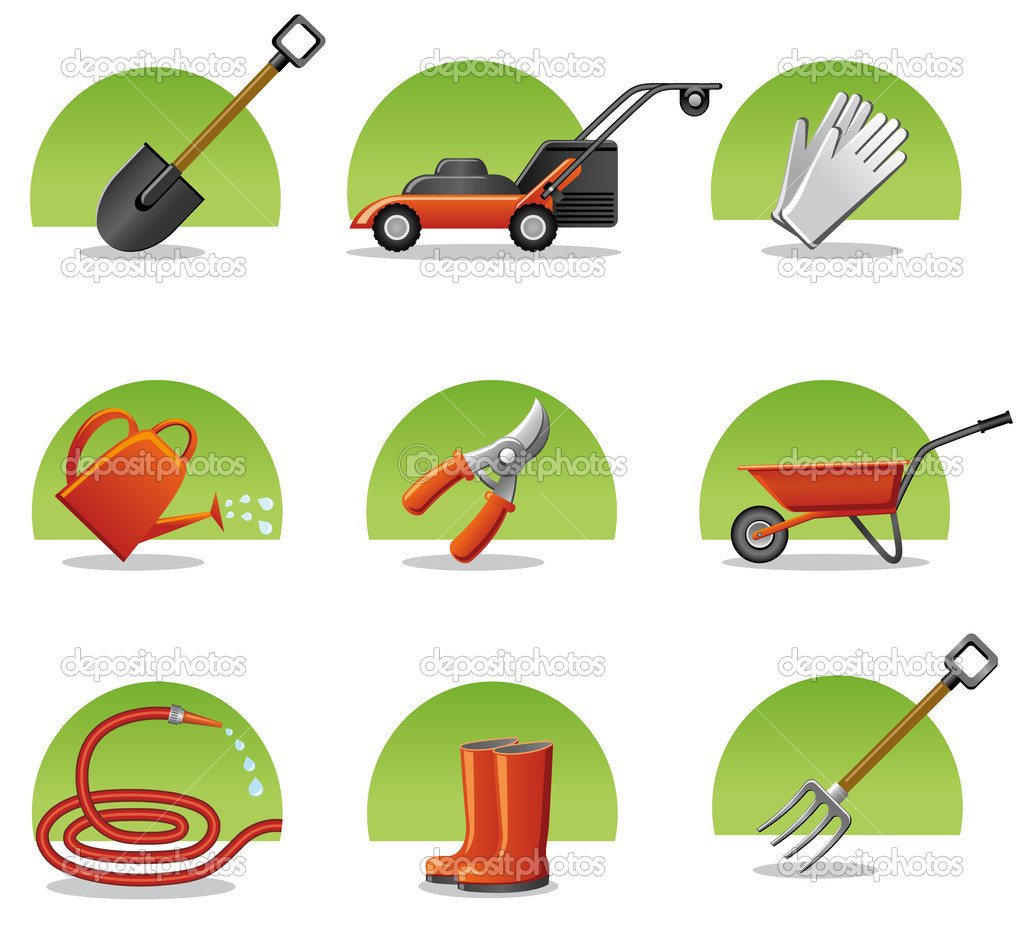 Web icons garden tools stock vector olegtoka1967 8476616 for Gardening tools names 94